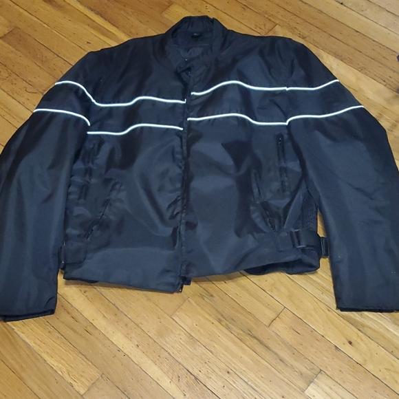 Men's black Biker zip out liner road wear coat 4xl